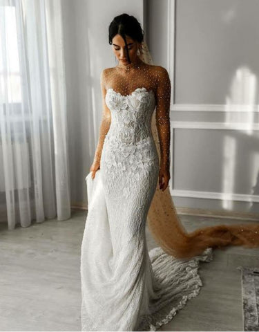 Lace Applique Beach Wedding Dresses, Sweetheart Wedding Dress, BH91281