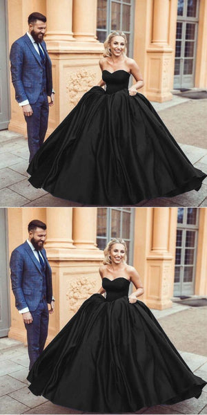 Black Satin Sweetheart Ball Gowns,BH91087