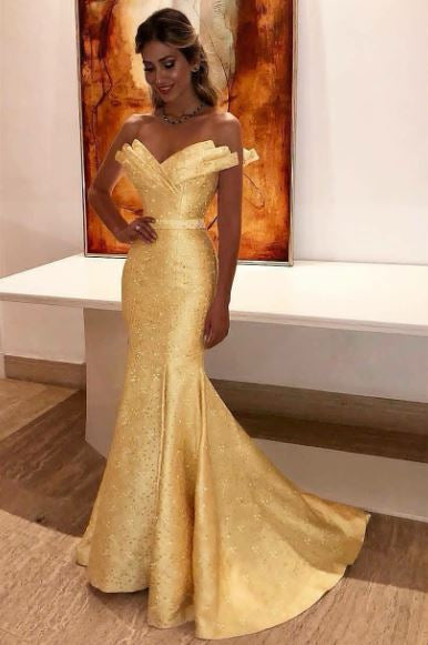 eba3e914b6b Sexy Yellow Mermaid Prom Dress