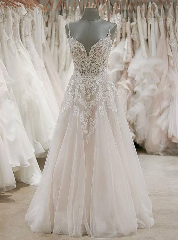 A Line Formal Spaghetti Strap Tulle Lace Cheap Long Wedding Dresses, BH91226