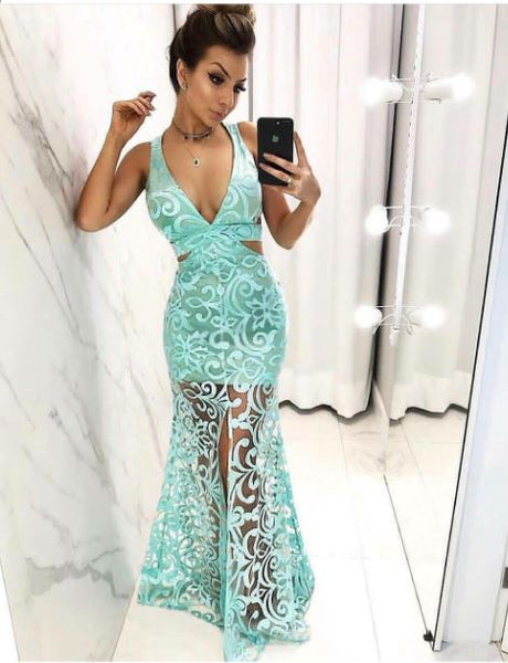 Front Slit Sexy Deep V-neck Prom Dress, BH91254