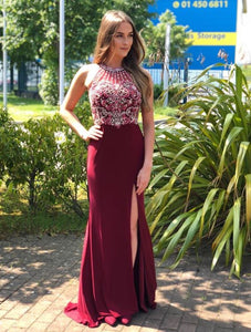 Halter Neckline Red Prom Dress, Beaded Red Evening Dress, BH91289