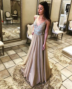 Spaghetti Strap V Neck Beaded Long Prom Dress,BH91138