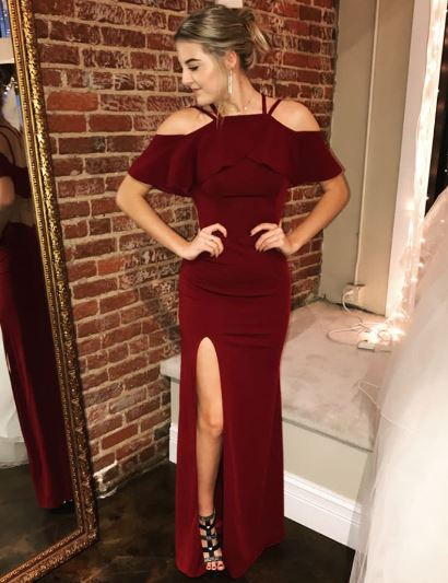 Cold Shoulder Red Long Prom Dress with Slit,BH91141