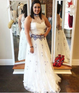 Two Piece White Lace Prom Dress,BH91145