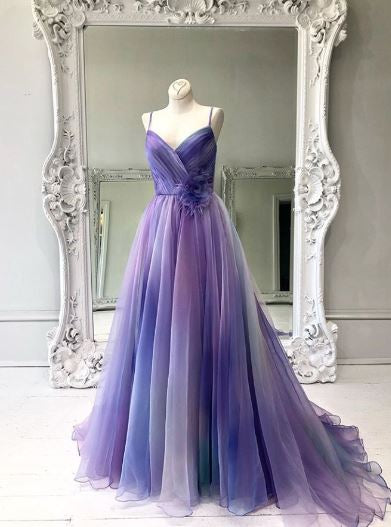 Spaghetti Straps Lilac Tulle Prom Dress,Evening Dress,BH91147