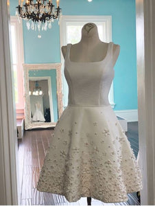 White Homecoming Dress,Beading Homecoming Dress,BH91154
