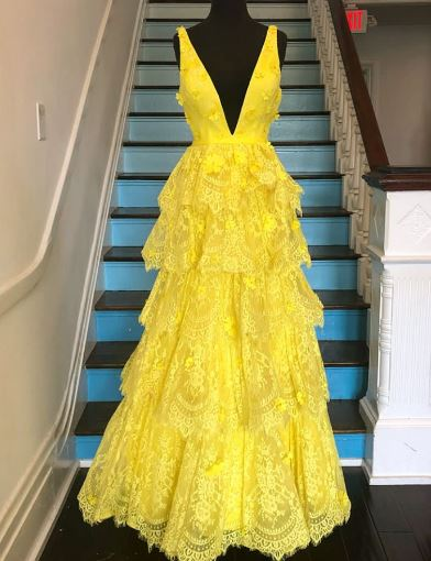 Yellow Plunging Long Lace Prom Dress,BH91155