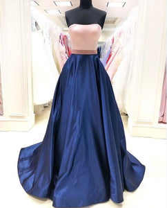 A-Line Strapless Stain Long Prom Dress,BH91160
