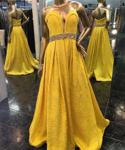 Charming Strapless V Neck Yellow Prom Dress with Beading Belt,BH91157