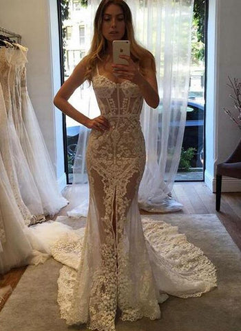 Sexy See Through Lace Mermaid Sweetheart Long Wedding Dresses, BH91230