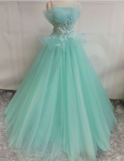 Elegant Tulle Green Appliques Evening Dress, Lace up Formal Prom Dresses, BH91207