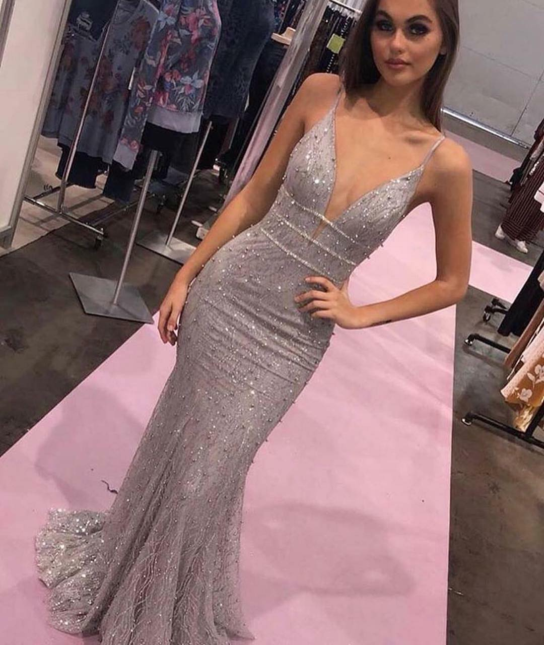 Deep V Neck Mermaid Prom Dresses,BH91186