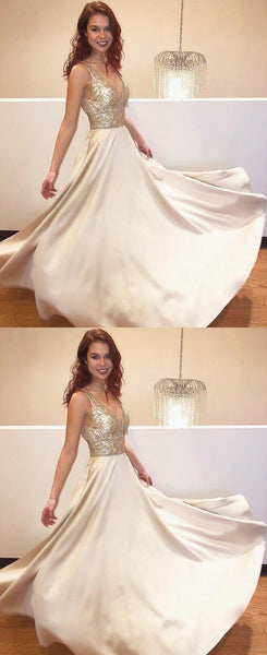 gorgeous prom dress,long prom dress,gold beaded evening dress,BH91080