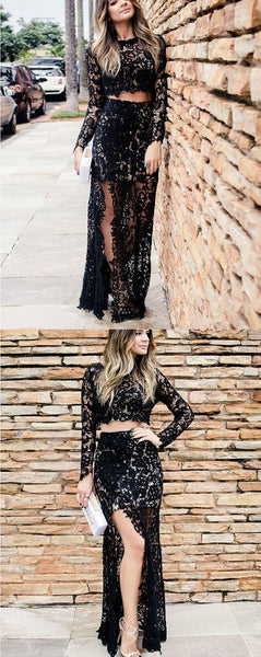 Two Piece Long Sleeves Prom Dress, Black Lace Prom Dress,BH91081