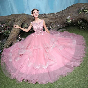 Pink round neck lace tulle long prom dress, sweet 16 dress,072001