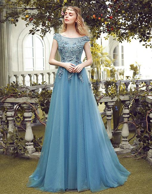 Blue round neck tulle lace long prom dress, blue evening dress BD98010