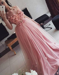 Pink 3D flowers tulle long prom dress, evening dress