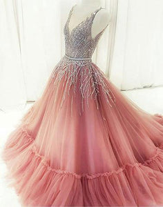 Custom made v neck tulle beaded long prom dresses, pink evening dresses,BD1114