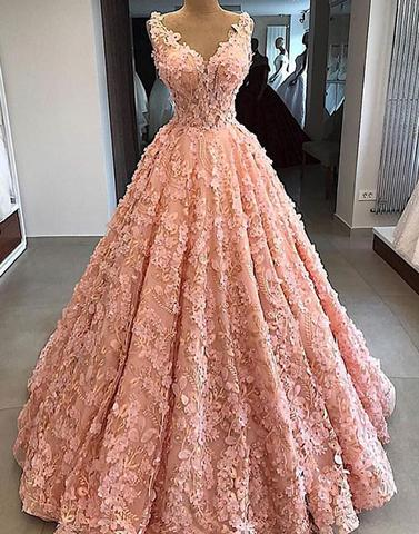 Pink v neck lace long prom dress, pink evening dress