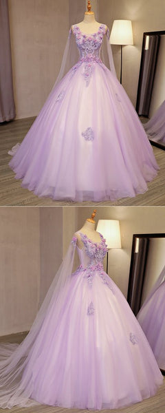 Lilac Tulle Round Neck Long 3D Lace Appliuqe Evening Dress, BH91222