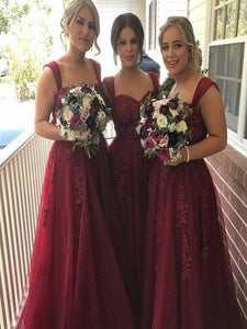 burgundy Bridesmaid Dresses,lace Bridesmaid Dress,cheap 2019 Bridesmaid Dresses,PD00227