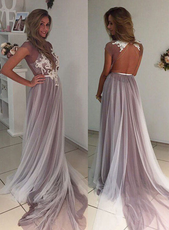 Cute tulle long prom dress, tulle lace evening dress for teens,PD455868