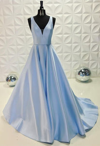 pretty light blue satin long prom dresses v-neck evening gowns 2018,PD455865