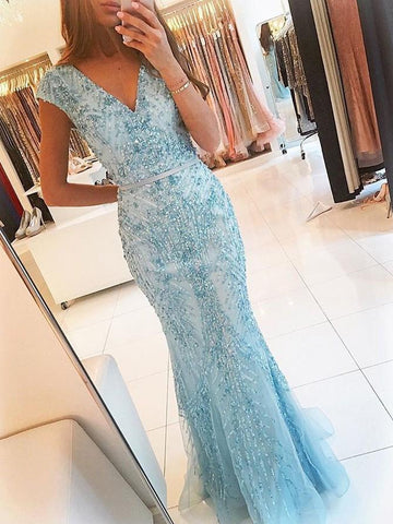 Sexy Beading Light Blue Mermaid Prom Dress, V Neckline Formal Evening Dresses, Long Prom Dresses,BD455861