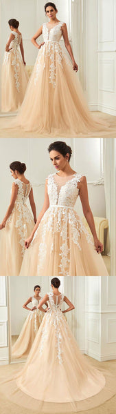 Round Neck Tulle Lace Applique Long Prom Dress,BH91011