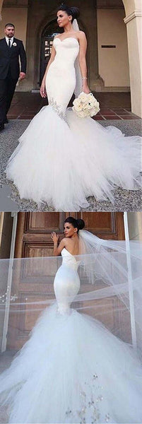Sweetheart Neckline Mermaid Wedding Dresses With Beading,BH91014