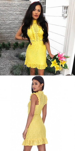 Sheath High Neck Yellow Lace Homecoming Dress,BH91012