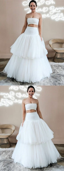 Two Piece Strapless Floor-Length White Tiered Wedding Dress,BH91031