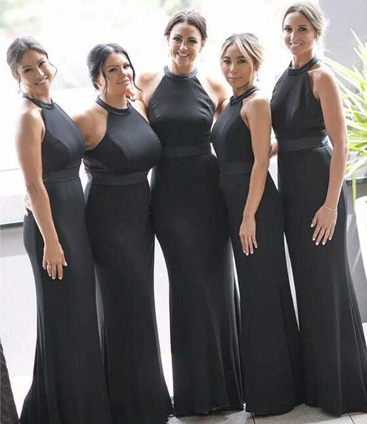 Black New Arrival Halt Sexy Bridesmaid Dresses,Modern Custom Bridesmaid Dress,BH91099