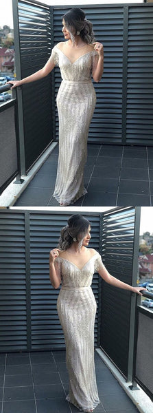 Silver Prom Dresses With Rhinestone Modest Evening Gowns,BH91028