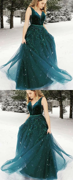 A-Line V-neck Floor-Length Dark Green Prom Dress with Appliques,BH91025