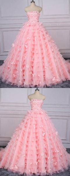 Prom Dress Pink, Prom Dress Lace, Unique Prom Dress,BH91027