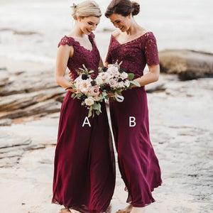 A-Line V-Neck Long Burgundy Bridesmaid Dress with Lace,BH91101