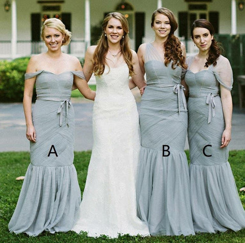 Mermaid Off-the-Shoulder Long Sage Bridesmaid Dress with Sash,BH91109