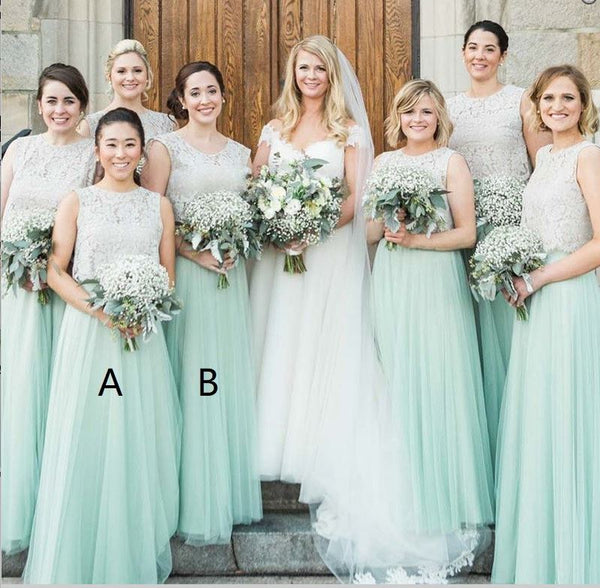 A-Line Round Neck Mint Green Bridesmaid Dress with Lace,BH91108