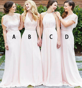 Sheath Bateau Long Pearl Pink Bridesmaid Dress with Lace,BH91107
