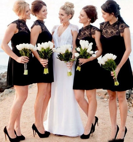A-Line High Neck Short Black Bridesmaid Dress with Lace,BH91104