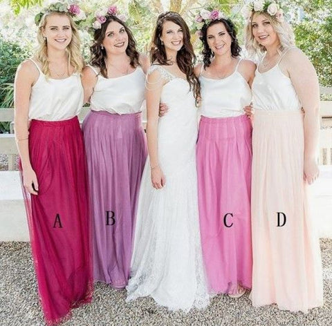 Spaghetti Straps Sleeveless Long Cheap Tulle Bridesmaid Dresses,BH91113