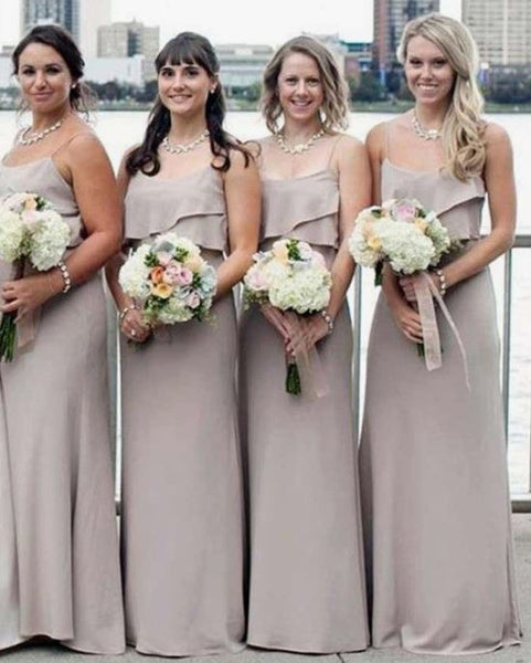 Spaghetti Straps Grey Long Cheap Bridesmaid Dresses,BH91112