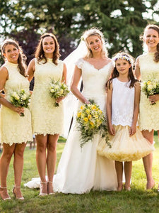 Unique short bridesmaid dresses, yellow lace short bridesmaid dresses,BH91121