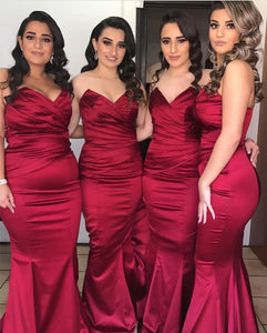 Strapless Bridesmaid Dress,Satin Evening Gowns,Burgundy Bridesmaid Dres,BH91120