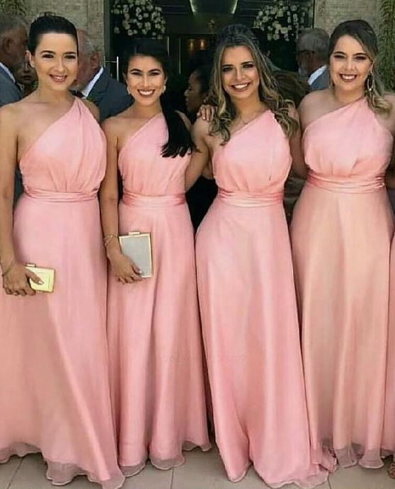 A-Line One Shoulder Floor Length Pink Bridesmaid Dress,BH91118