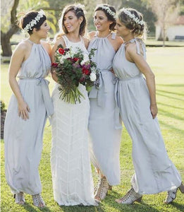 Grey Halter Sleeveless Empire Long Bridesmaid Dresses,BH91117