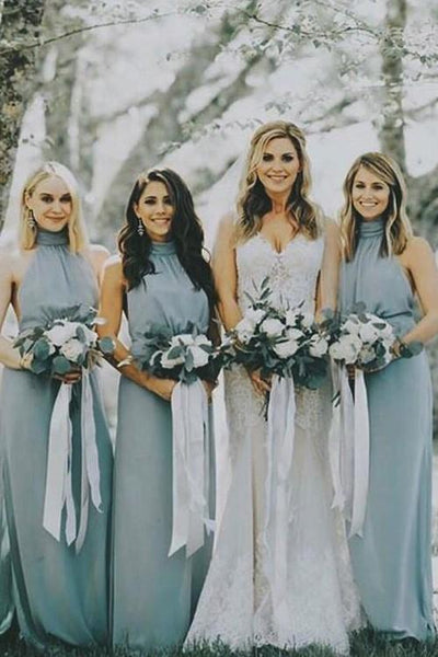 Dusty Blue Chiffon Bridesmaid Dresses with Halter Neckline,BH91125