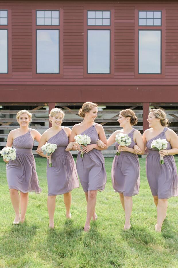 Single Shoulder Purple Chiffon Short Bridesmaid Dress,BH91123
